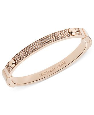 Michael Kors Bracelet, Rose Gold-Tone Pave Hinge Bangle Bracelet