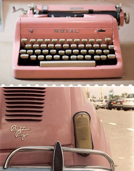 pink vintage typewriter and car