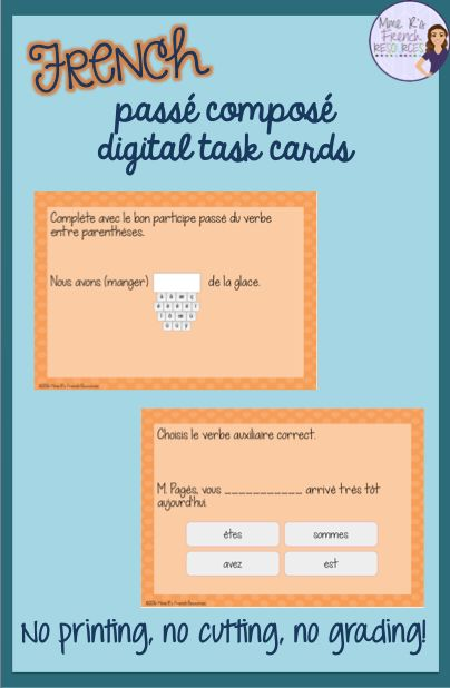 These cards are a perfect review for students who have learned the passé composé with avoir and être.  You'll get a mix of multiple choice and short answer cards using regular and irregular verbs conjugated with avoir and être.  There are cards to practice gender agreeement and formation of negative sentences.  Click here to see more!
