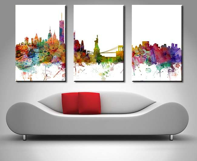 New york triptych skyline paintingwall canvascanvas artpanel
