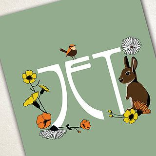Geboortekaartje in vintage stijl - Art nouveau - konijntje - vogel - bloemen