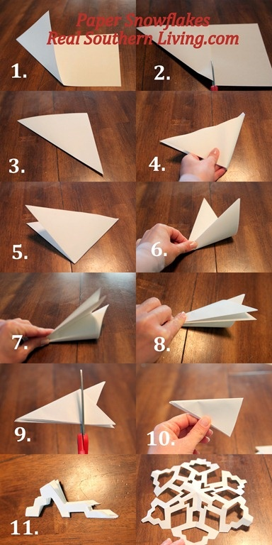 How to fold the paper for making snowflakes.