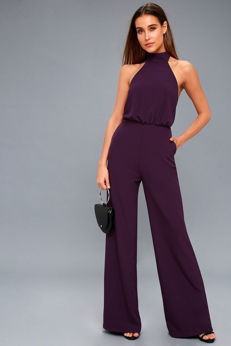8c1b2389a1c5 Moment for Life Purple Halter Jumpsuit in 2019