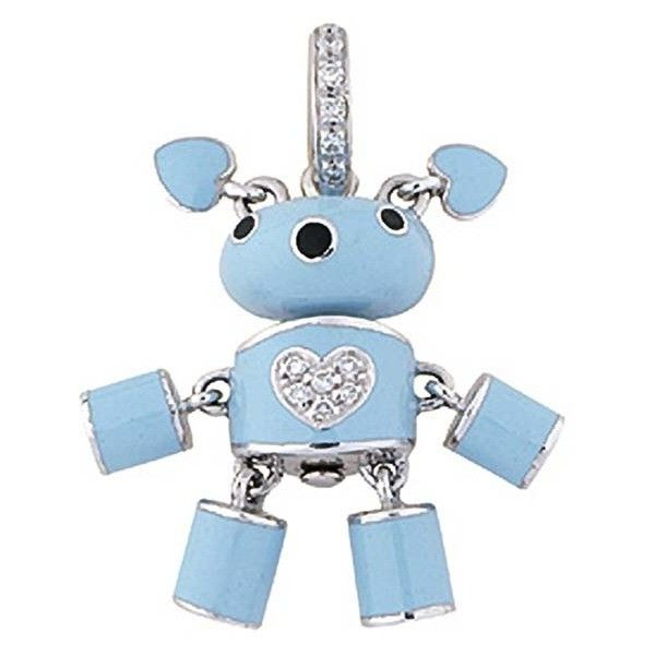 Aaron Basha White Gold Light Blue Puppy Dog Puppet with Diamond Heart (189,630 DOP) ❤ liked on Polyvore featuring jewelry, pendants, necklaces, charm, aaron basha charms, charm pendant, diamond jewellery, diamond heart charm and heart jewelry