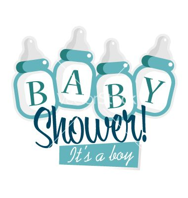 Awesome Blue Baby Shower Bottles Vector Invitation By Mictoon On VectorStock®