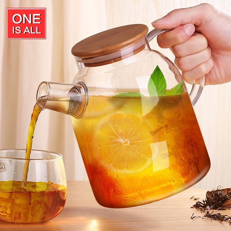 One Is All GYBL010 1600ml Glass Water Pot BPA Free Tea Glass Water Bottle with Bamboo lid Glass Kettle Water Tumbler Tea Bottle