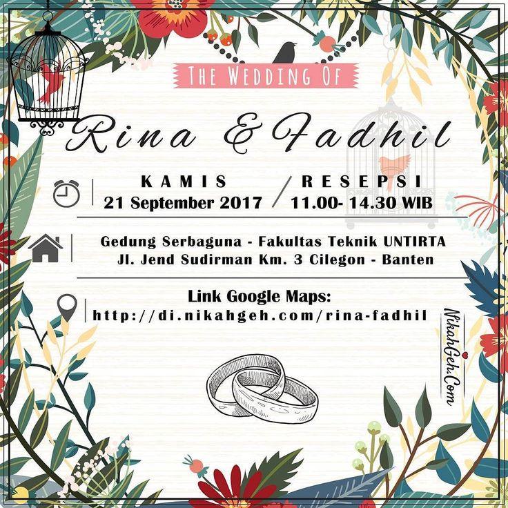 https://nikahgeh.com - E-Invitation Rina & Fadhil .  Tanya-tanya atau info lebih lanjut hubungi :  WA : 08561410064 Line : nikahgeh Desain bisa cek di  http://nikahgeh.com  #weddingserang#undanganserang #infoserang #undanganminimalis #simpleinvitation #testinikahgeh #undanganpernikahanmurah #undangancantik #pesanundangan #invitationserang#kotaserang#undangancilegon #undanganpandeglang#undanganmurah #undanganpernikahan#undanganonline #undangankreatif#undanganunik#nikah…