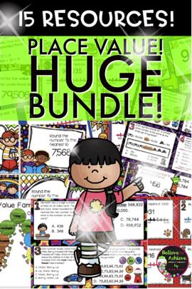 **NOW COMPLETE: Place Value HUGE Bundle! 12 sets of Task Cards, Place Value Craft, Place Value Practice!   Plus, BONUS FOR FREE:Differentiated Rounding Practice ($8.00 value!)- Just added!