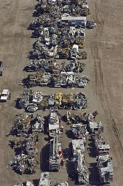 Approximately 1,400 cars, trucks, fire apparatus, ambulances, and other vehicles became instant relics on 9/11.