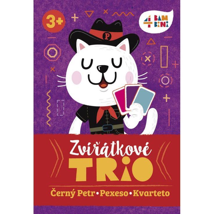 Tři oblíbené karetní hry (Černý Petr, Pexeso, Kvarteto) v jedné krabičce, vždy připravené na hraní doma i na cestách.