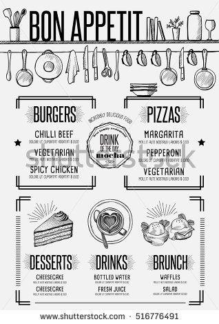 Placemat menu restaurant food brochure, cafe template