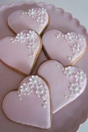 Pink Heart Cookies, these make great wedding favours and can also double up as place settings, when bagged tied with ribbon and a name tag.