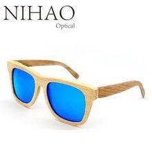 NIHAO Árbol Marco de Los Hombres gafas de Sol de Madera De Bambú De Madera Superior Cuadrados de Bosque de Madera Para Hombre gafas de Sol Polarizadas Gafas Gafas De Sol De Madera