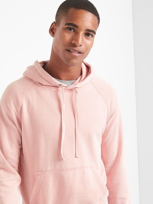Gap Mens French Terry Pullover Hoodie Pink Standard