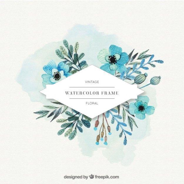 Flores da aguarela rótulo em tons de azul