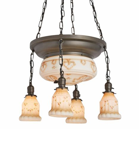 Large Classic Bowl Chandelier w/ Painted Shade Satellites