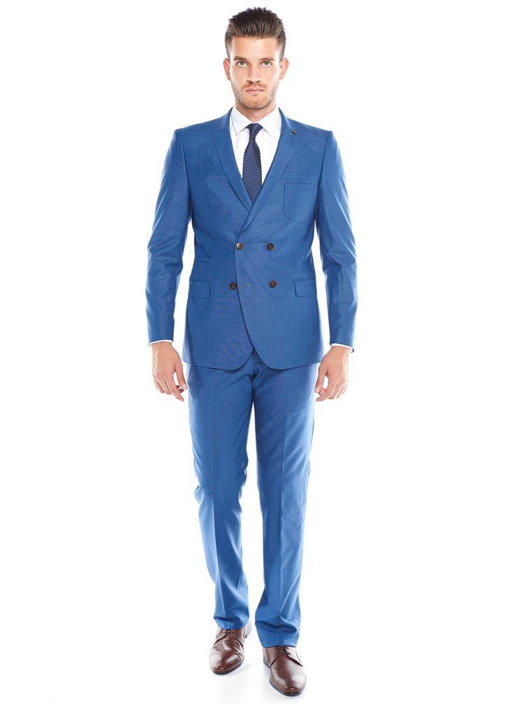 Slim Fit Mavi Kruvaze Takım Elbise - Altınyıldız Classics