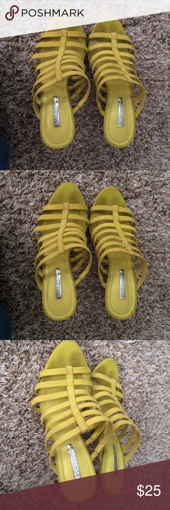 BCBGeneration neon yellow strappy heels Good condition. The material feels like suede. The top portion can be moved to your liking. It's a size 7 12 but fits like a 7. Shoes Heels