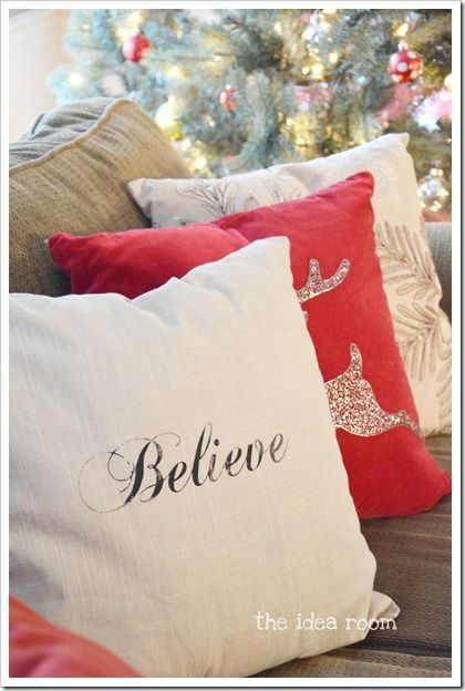 find stencils (faith, hope, joy, etc) and dab with fabric paint. @Jackie Banks let's get pillow covers from ikea and stencil these for our couches!!