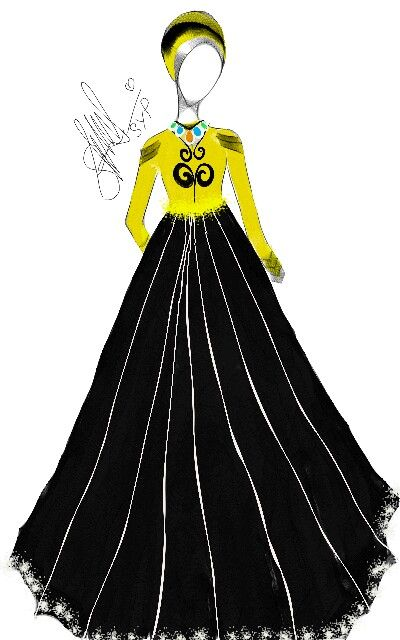 Yellow and Black, always be a glamours colour... Party dress from my design collection   #mysketch #SYPdesign #fashionilustration #indonesian