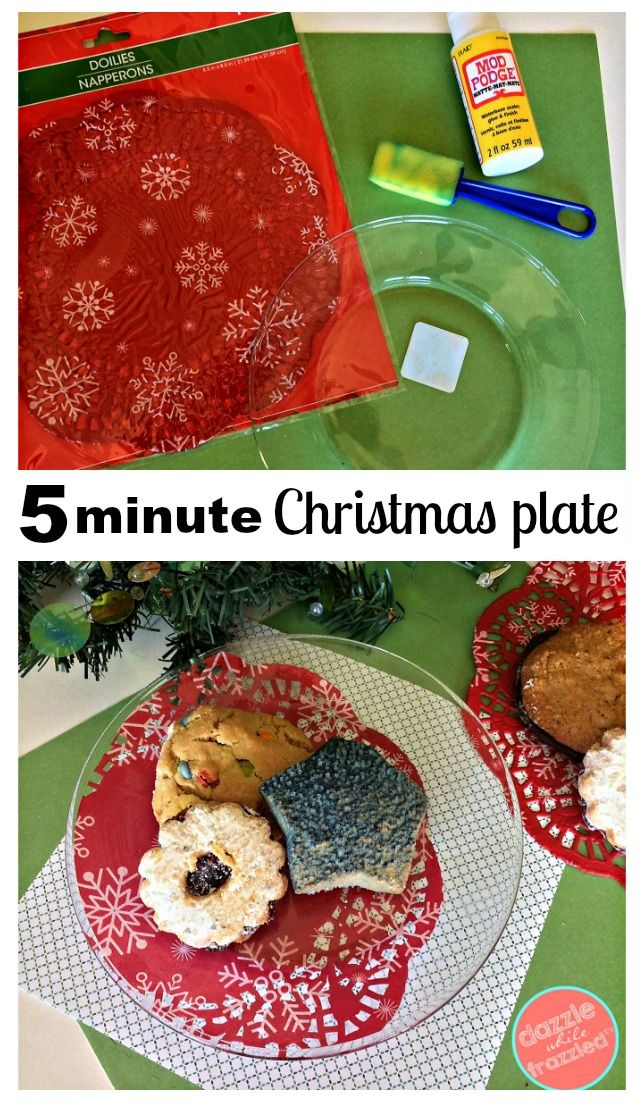 DIY 5-minute Christmas cookie plate craft using paper doily and Mod Podge. Easy holiday dessert plate craft for cookie gift giving. via @https://www.pinterest.com/dazzlefrazzled/