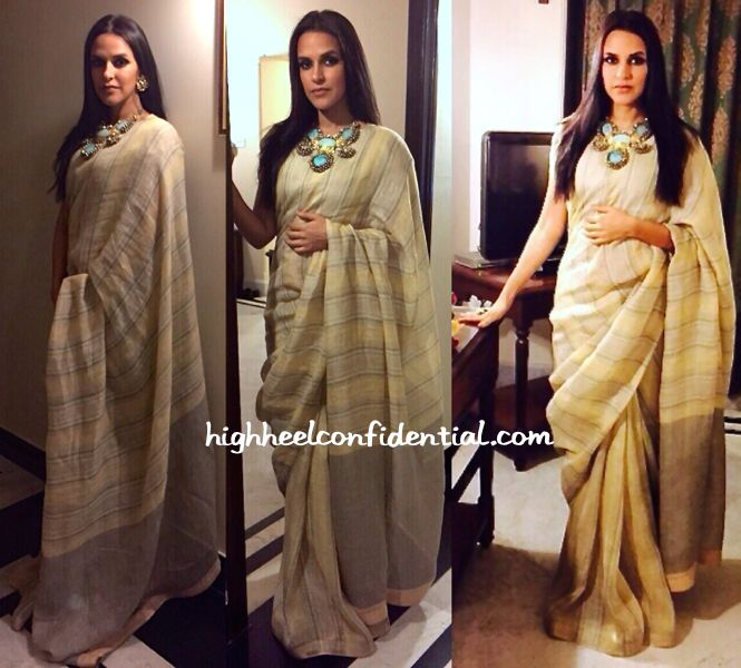 It was an Anavila sari for Neha while at a recent event. Wearing her hair down centre-parted and straight, she finished out the look with a chunky Amrapali necklace. Though these might not be the best pictures, it's easy the actor looked good. We like! Neha Dhupia At Madhav Jyoti Alankaran Event More guilt readingIn …