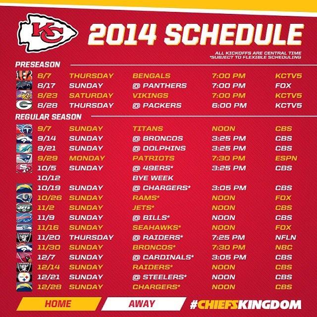 2014 KC Chiefs Schedule