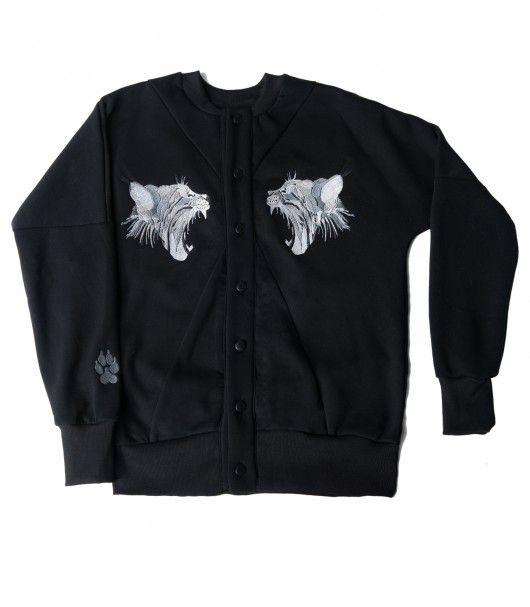 bluzy-Haftowana Bluza Ryś Czarny Rozpinany