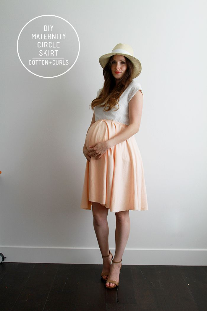 Maternity circle skirt with elastic waist, best for knit fabric (use the By Hand London calculator for exact measurements)