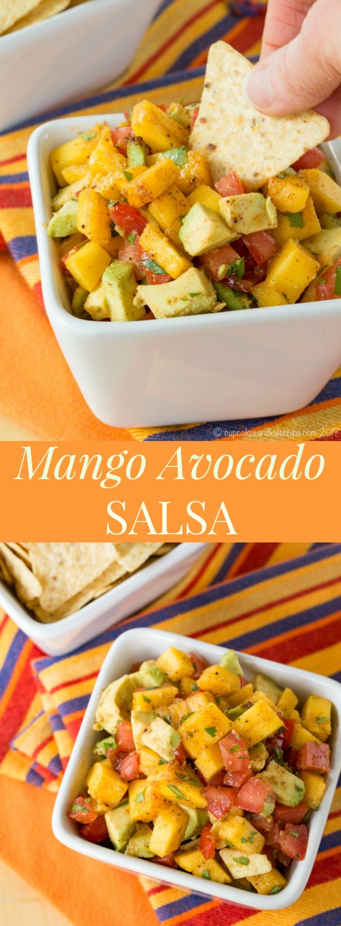 Mango Avocado Salsa - an easy fruit salsa recipe that's kid-friendly. Perfect for chicken, fish tacos, dipping chips and more.