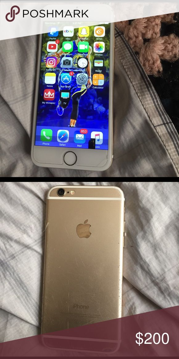iPhone 6 (Gold) T-Mobile/ IPhone Unlocked/ ICloud Unlocked/ Minor Crack at top of phone/Small LCD discoloration at bottom of Phone/ Works Fine Apple Other