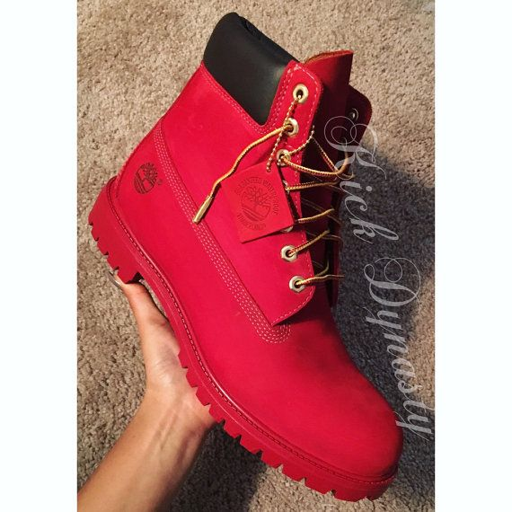 15% OFF SALE All Red Custom Dyed Timberland Boots by KickDynasty