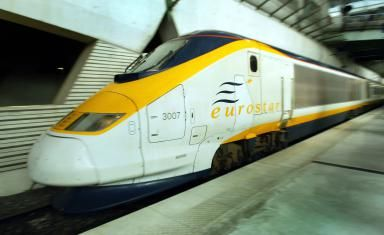 The Remarkable Story of How the Chunnel Was Built: A Eurostar train. There are currently 27 of the 400-meter-long trains in service, each capable of carrying 766 passengers, which run between London's Waterloo station, through the Channel Tunnel, and on to the French and Belgian capitals.