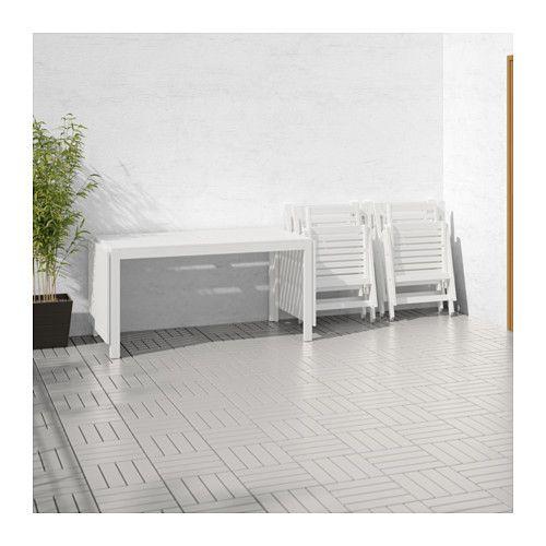 ÄPPLARÖ Table + 4 reclining chairs, outdoor - white - IKEA