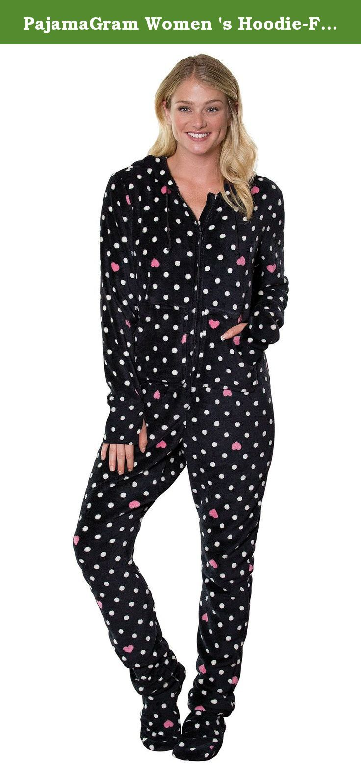 PajamaGram Women 's Hoodie-Footie Love Dot Fleece Onesie Pajamas Multi Medium / 8-10. Give the gift of comfort with this darling dotted women's Hoodie-Footie™! It features all-over black and white polka dots plus pink hearts peppered throughout for a supremely sweet loungewear option. Like all PajamaGram Hoodie-Footies™, the Love Dot style is designed to envelop you in undeniable comfort with its drawstring hood, zip-off feet and long sleeves with thumb holes. A kangaroo pocket makes the...