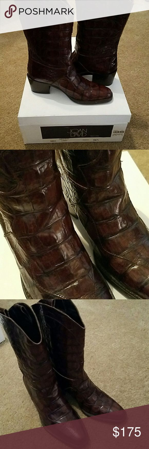 JOAN & DAVID crocodile cowboy boots Like new, beautiful detailed crocodile boots with 2 inch heel, 11 inch shaft. Gorgeous. Joan & David Shoes Heeled Boots