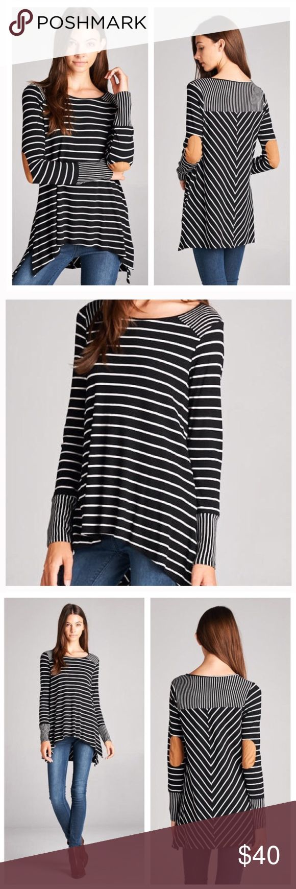 Trip to the Cabin Elbow Patch Thermal NWOT Trip to the Cabin Elbow Patch Thermal NWOT Black and Ivory Striped Thermal Knit Long sleeve with Suede Elbow Patches Boat Neckline Shark Bite hemline and side slits 95% rayon 5% spandex staccato Tops