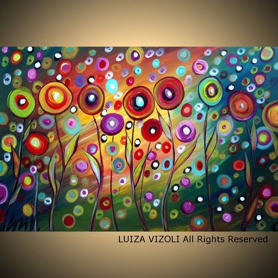 POPPIES in the SUNSET Large Print on Stretched Canvas Modern Abstract Fantasy Whimsical Flowers by Luiza Vizoli