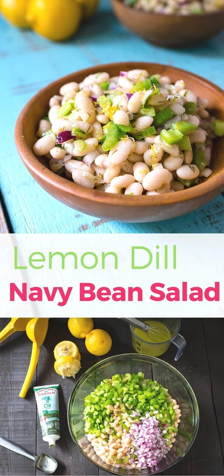 Thanks to the simple fresh flavors lemon-dill navy bean salad has a lightness you might not expect from a bean salad. Quick & easy 15 minute no-cook recipe. Made for Gourmet Garden herbs ~ http://www.halfhersize.com