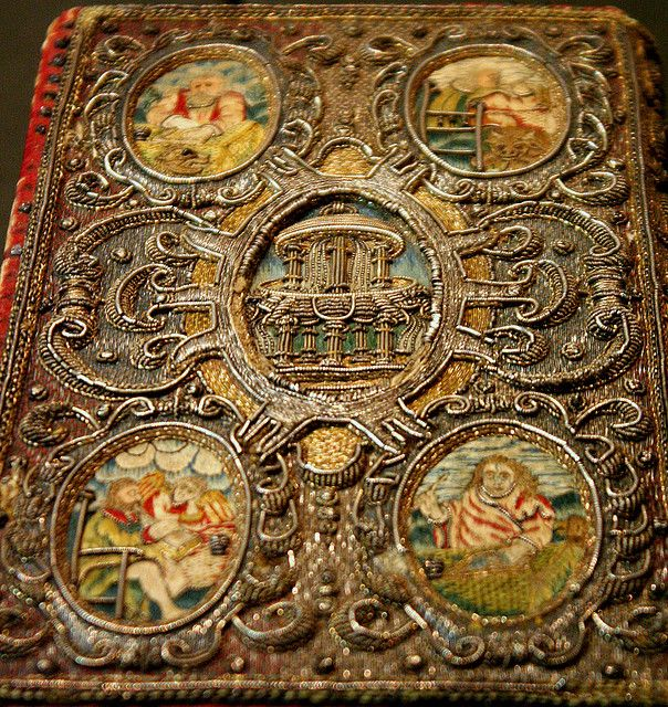 Embroidered book cover, Victoria and Albert Museum - British Galleries
