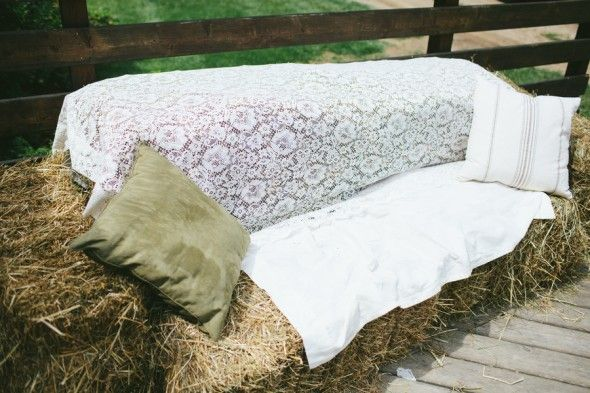 Hay Bales For Seating At Wedding with Lace!