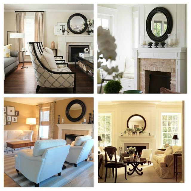 Large Round Mirror Over The Mantle