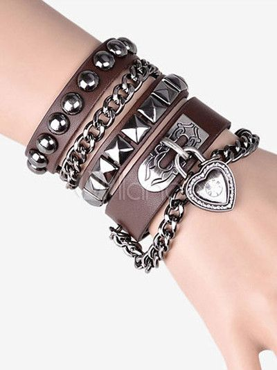 Punk Heart Shaped Lock Faux Leather Fashion Bracelet at $26.34  http://www.bboescape.com/products/85/jewelry