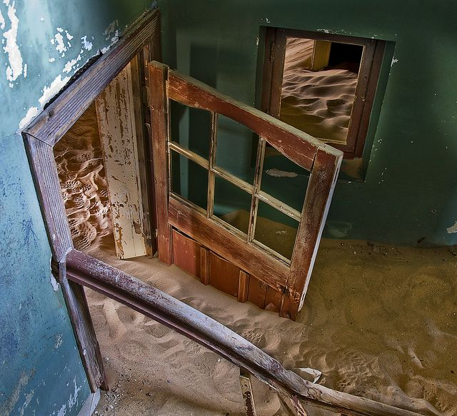 Kolmanskop in Namibia  Abandoned diamond mining town which is being taken over by the desert
