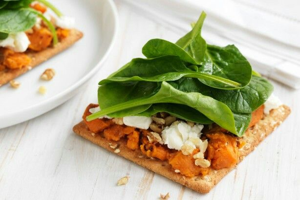 Roasted Sweet Potato, Feta, Baby Spinach, and Walnuts recipe: http://www.taste.com.au/recipes/37809/roasted+sweet+potato+feta+baby+spinach+and+walnuts?ref=collections,healthy-snack-recipes