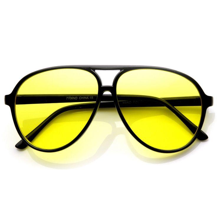 Retro 1980s Fashion Plastic Aviator Yellow Lens Sunglasses