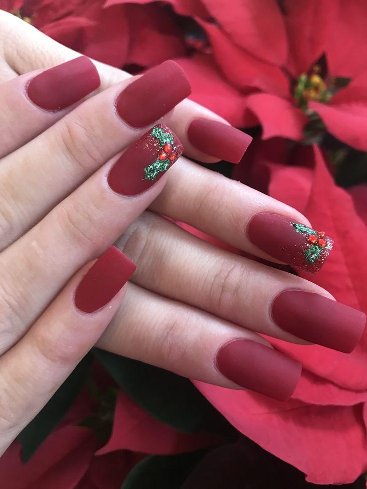 Matte Christmas nails . Red matte . Nails . Christmas nail art