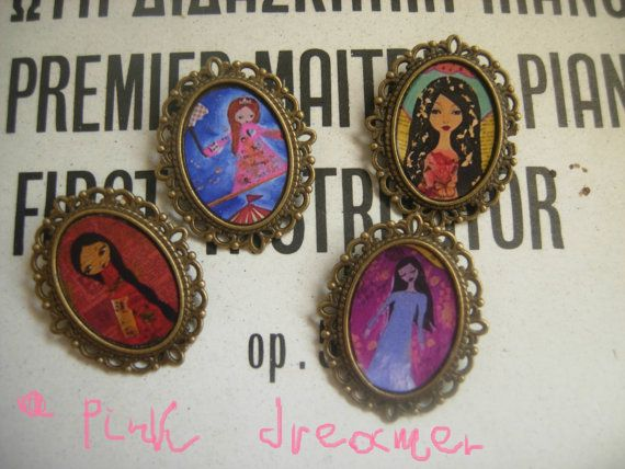 Whimsicaluniquevintageart illustrated brooches by a by eltsamp, $20.00
