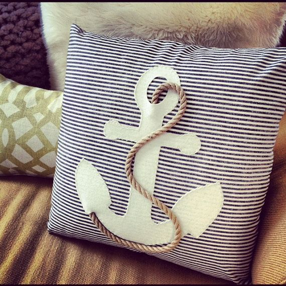 Nautical anchor pillow home decor organic cotton by EandAHeritage, $158.00    would love to try and make this and not spend $150 on a pillow
