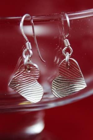 Boucles d'oreilles Coeur motif de vagues